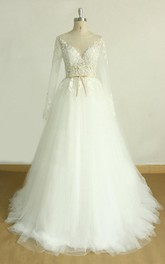 Tulle Satin Long-Sleeve A-Line Wedding Lace Dress