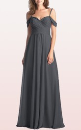 A Line Chiffon Off-the-shoulder Floor-length Bridesmaid Dress With Ruching