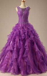 Floor-Length Satin Organza Sleeveless Jeweled Lace Corset Sequined Ball Gown
