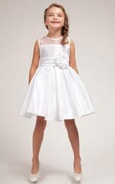 Slit-Front Satin Pleated Midi Organza Flower Girl Dress