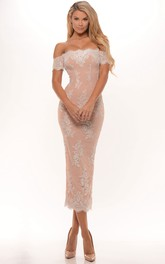 Off-the-shoulder Pencil Tea-length party Dress With Lace