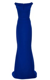 Mermaid Floor-length Bateau Sleeveless Satin Dress with Pleats