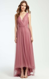 Tulle Plunged High-low Sleeveless Bridesmaid Dress With Pleats