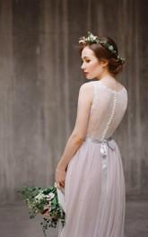 Tulle Lace Bodice Satin Sash Jewel-Neckline Boho Dress