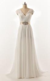 Chiffon Low-V Back Brush-Train Cap-Sleeve Lace Dress