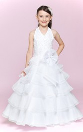 Organza Waist Floral A-Line Halter Flower Girl Dress