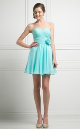 A-Line Short Sweetheart Chiffon Corset Back Dress With Criss Cross And Flower