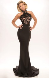 High Neck Trumpet Appliqued Backless Evening Dress With Sweep Train