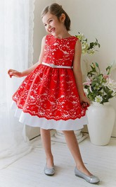 Lace Sash Floral 3-4-Length Flower Girl Dress