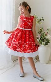 Lace Sash Floral 3-4-Length Flower Girl Dress