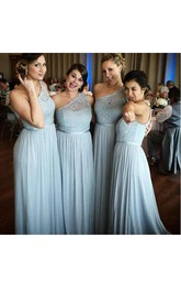 A-line One-shoulder Sleeveless Bell Backless Chiffon Lace Dress