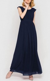 Scoop-neck Cap-sleeve Ankle-length Chiffon Dress With bow