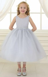 Satin Tulle Jeweled Flower Girl Dress