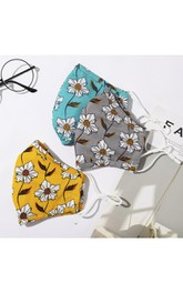 Non-medicial 3 Colors Cotton Washable Face Mask In Printed Flowers