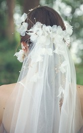Beautiful Flower Veils with Beaded Rings