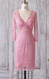 Sheath Illusion Inspire Illusion V-Neckline Knee-Length Dress