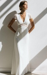 Sheath Empire V-neck Chiffon Floor-length Sweep Train Short Sleeve Open Back Wedding Dress