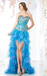 A-Line Tiered Jeweled High-Low Sweetheart Tulle Strapless Lace-Up-Back Dress