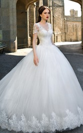 Ball Gown Long V-Neck Cap-Sleeve Zipper Tulle Dress With Appliques