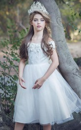 Appliqued Sash Tea-Length Embroidered Satin Flower Girl Dress