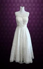 Bateau-Neckline Satin Belt A-Line Sleeveless Lace Gown
