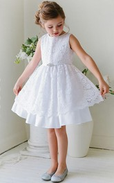 Lace Ribbon Floral 3-4-Length Flower Girl Dress