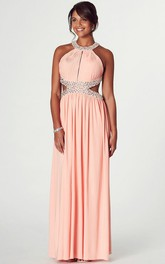 Jewel-Neck Beaded Chiffon Prom Dress With Beading And Pleats