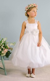 Lace Satin Sash Bowknot Tea-Length Flower Girl Dress