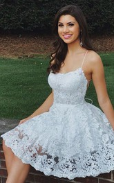 Spaghetti Sweetheart Lace Sleeveless Short A Line Cross Back Homecoming Dress with Petals