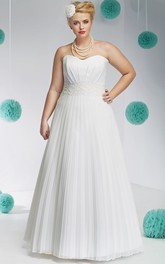 Strapless Satin A-line Pleated plus size wedding dress With Appliqued waist