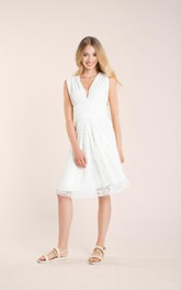 Tulle Jersey Wedding Midi-Length Short Satin Lace Gown