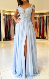 V-neck Chiffon Lace Short Sleeve Floor-length Illusion A Line Evening Dress with Pleats