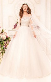 Off-The-Shoulder Appliqued Tulle Beading Ball-Gown Princess Illusion Dress