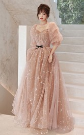 V-neck High Neck Off-the-shoulder Tulle Long Prom Evening Dress With Ruching