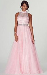 High Neck A-line Lace Tulle Dress With Beading And Keyhole back