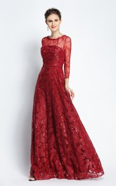 Floor-length A-Line Bateau Scalloped Long Sleeve Lace Prom Dress with Sequins