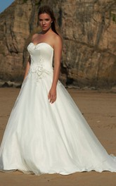 Sweetheart Satin A-line Ball Gown With Appliques And Sweep Train