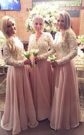 V-Neckline Chiffon Floor-Length A-Line Lace Long-Sleeve Dress