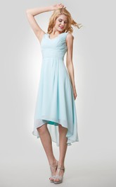 Sleeveless Ruched Chiffon High-Low V-Neckline Dress