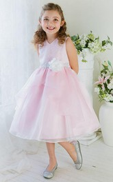 Lace Tea-Length Embroidered Flower Girl Dress