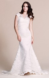 Lace Keyhole Back Fishtail Cap-Sleeved Gown