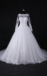 Long-Sleeve Lace Princess A-Line Satin Tulle Dress