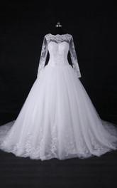 Long-Sleeve Lace Princess A-Line Satin Tulle Dress