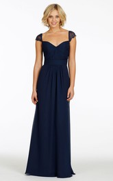 Queen Anne Chiffon Long Bridesmaid Dress With central Ruching