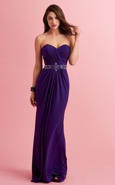 Sheath Sweetheart Jersey Ruched Prom Dress With Jeweled Waist
