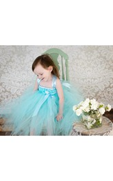 Pleated Satin Sash Blue Aqua Tulle Flower Girl Dress
