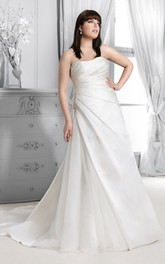 Strapless side-ruched A-line Satin plus size wedding dress With Corset Back And Sweep Train