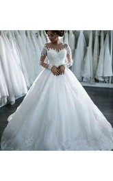 Luxury Jewel Illusion Long Sleeve Lace Tulle A-Line Ball Gown Wedding Dress