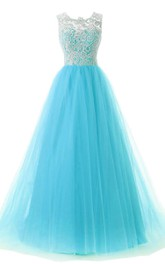 Jewel-Neck Sleeveless Tulle A-line Dress With Lace top