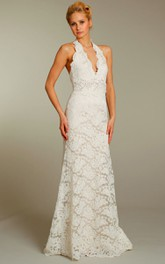 Floral Embellished Waist Halter-Neck Fabulous Gown